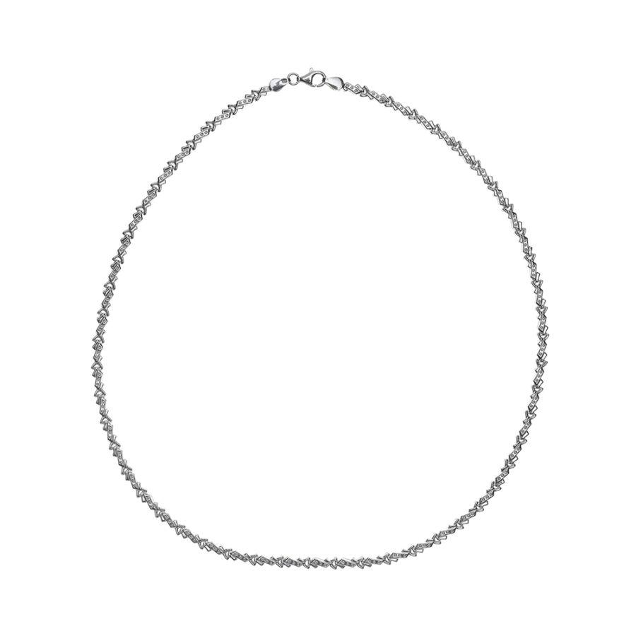 Üreges fűzött szalagos ezüst lánc