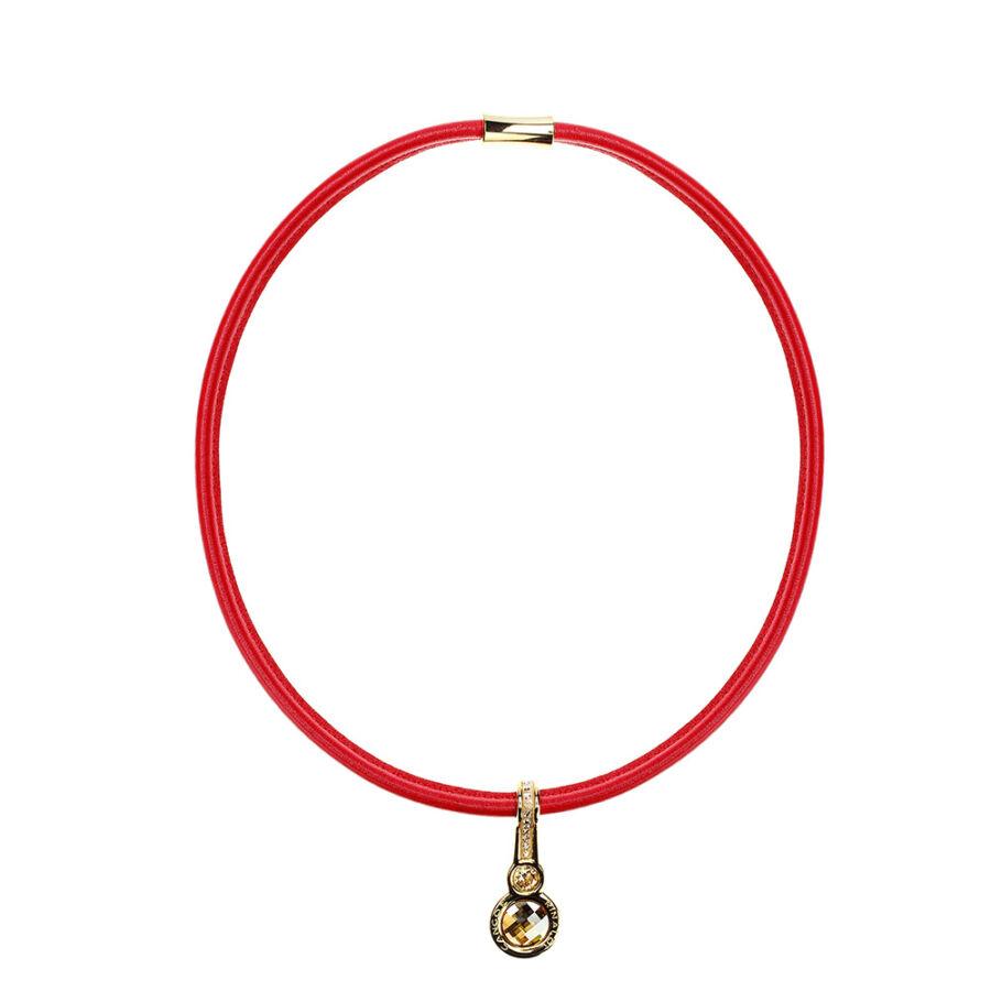 Cango & Rinaldi Magic piros nyaklánc arany fémmel és kristályokkal
