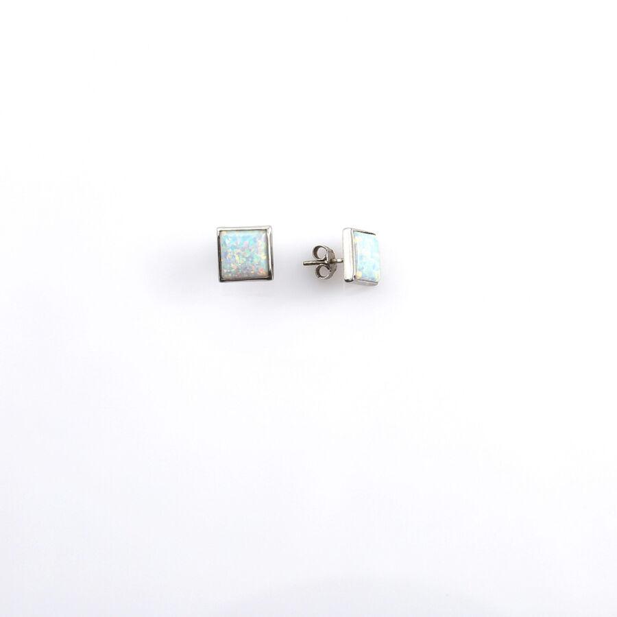Opál berakásos fehér 14 karátos arany fülbevaló