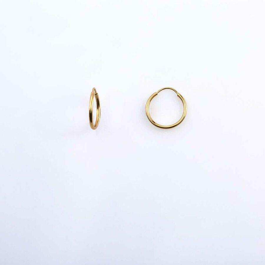 Kis sárga 14 karátos arany karika fülbevaló, 1,14 g