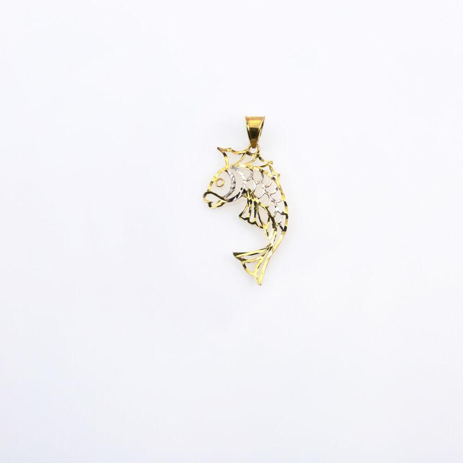 Áttört sárga-fehér 14 karátos arany hal medál
