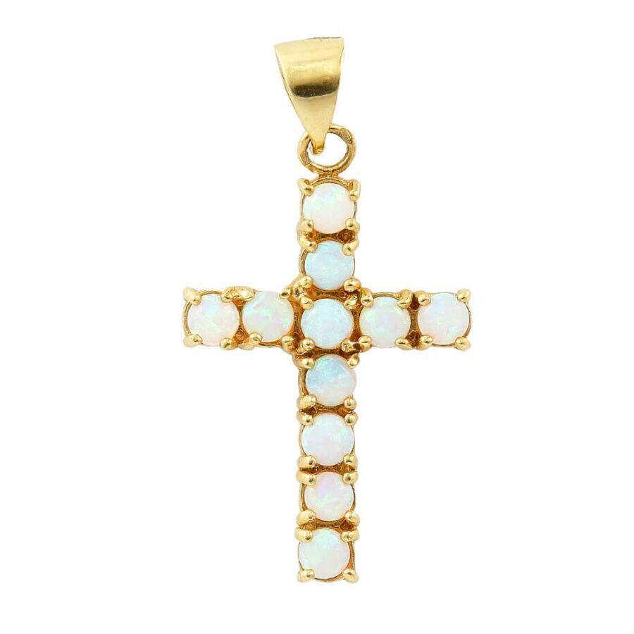 Sárga 14 karátos arany opál kereszt medál