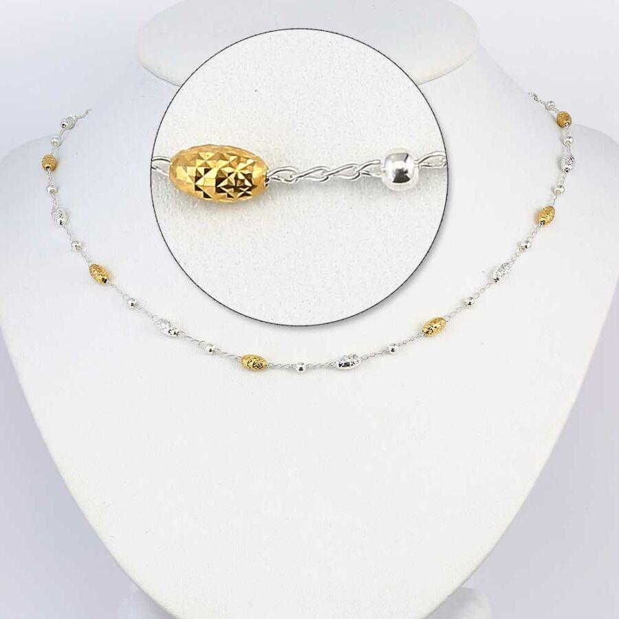 """""""Golden Bead"""" (Arany bogyó) könnyű ezüst lánc"""