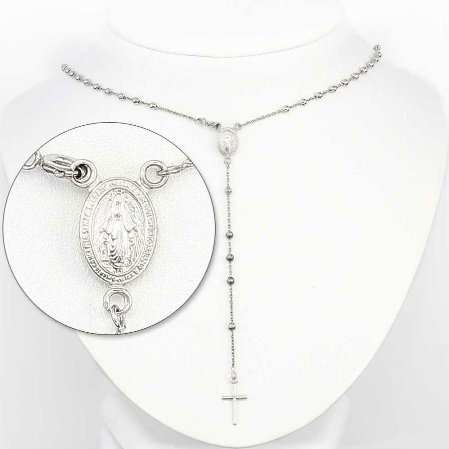 Nyakláncként is hordható ezüst rózsafüzér