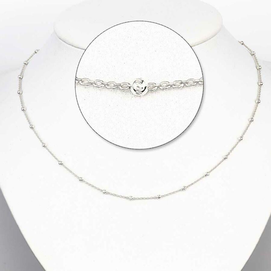 White Rhodium ezüst bogyós lánc