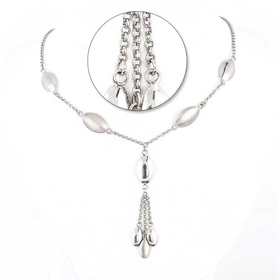 Fehér 14 karátos arany fantázia női lánc, 45 cm