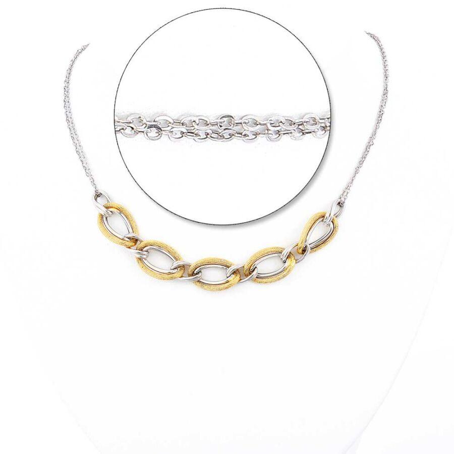 Sárga-fehér 14 karátos arany mediterrán fantázia lánc, 45 cm