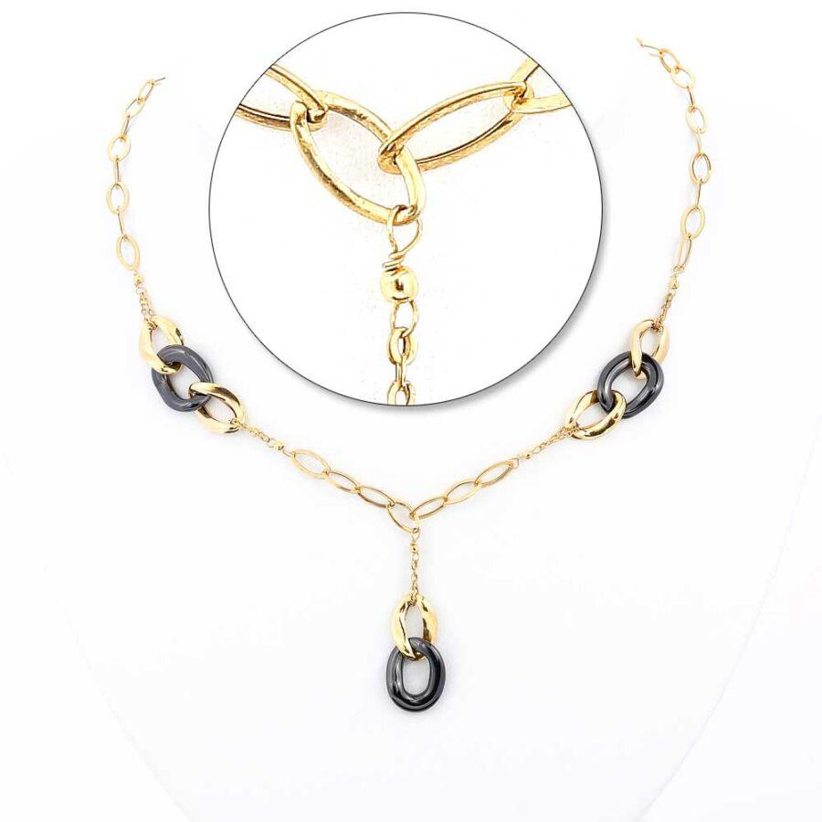 Kerámia díszes 14 karátos arany nyaklánc, 45 cm