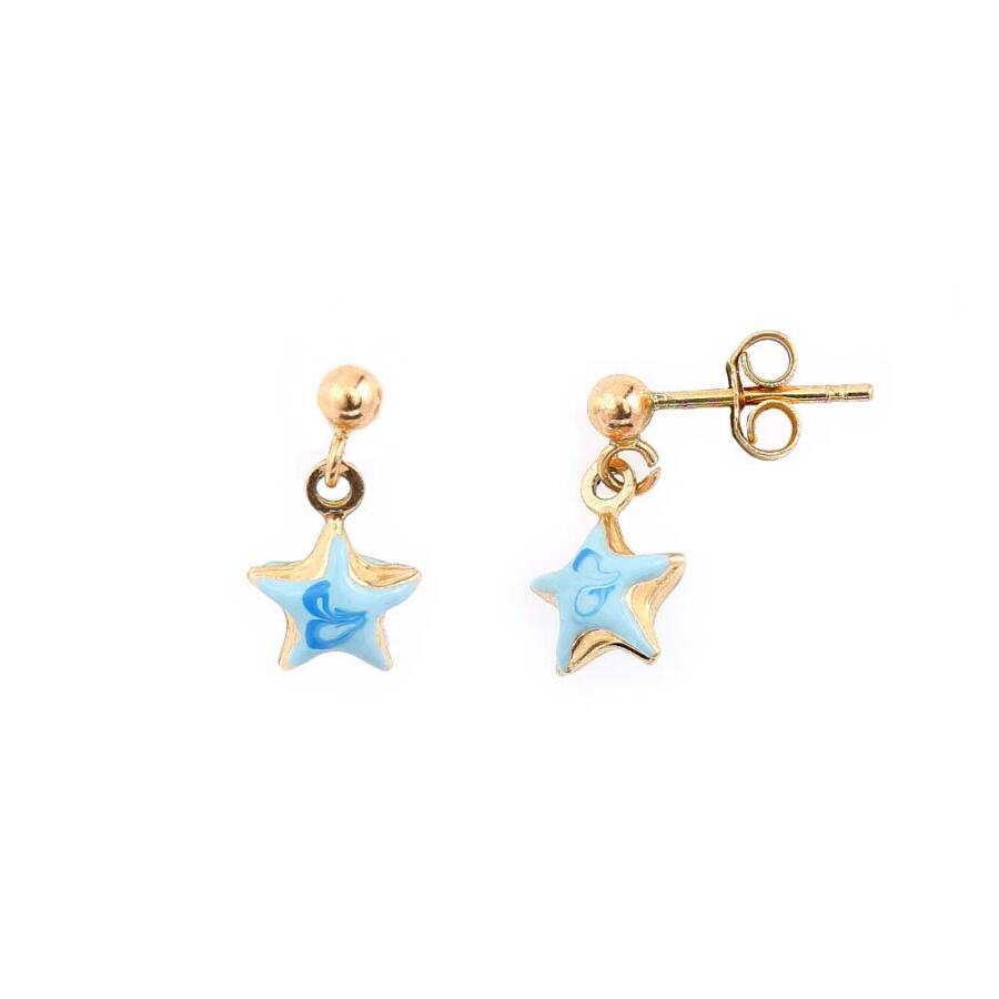 Kék csillag zománcos sárga 14 karátos arany gyermek fülbevaló