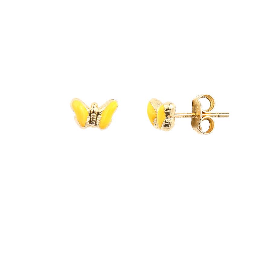 Sárga zománc pillangós sárga 14 karátos arany gyermek fülbevaló, 1,12 g