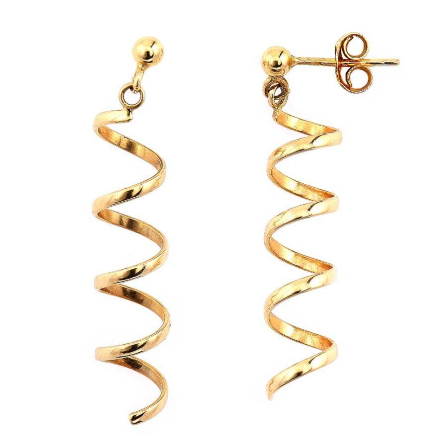 Spirális 14 karátos arany bedugós fülbevaló