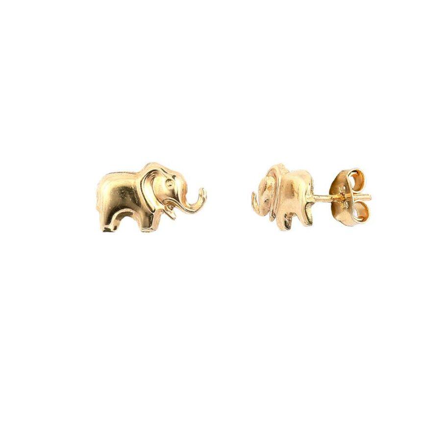 Szerencse-elefánt sárga 14 karátos arany pontfülbevaló, 0,81 g
