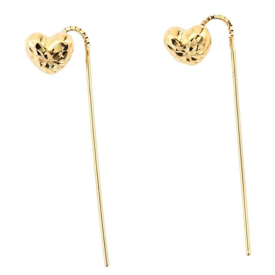 Sárga 14 karátos arany áthúzós szivecske fülbevaló