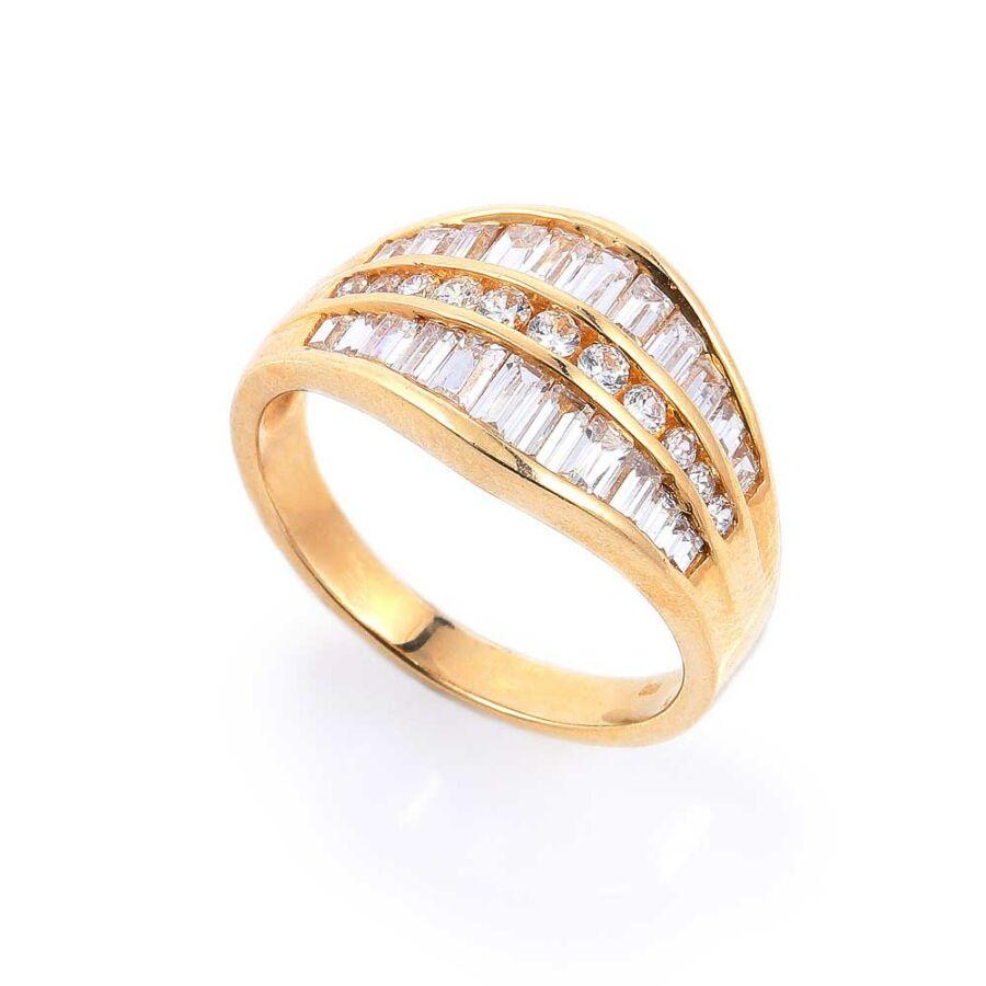 Sárga 14 karátos arany női gyűrű különleges cirkónia díszítéssel (59-es méret)