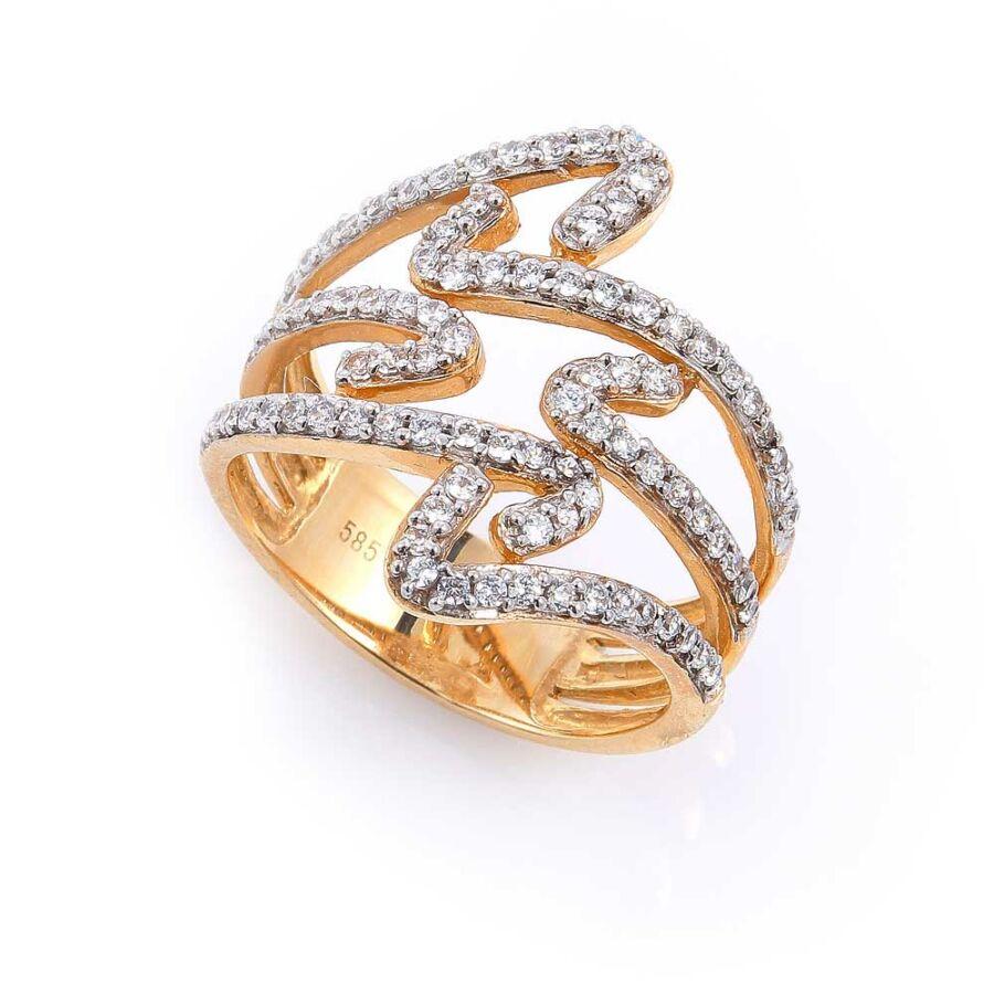 Sárga 14 karátos arany női gyűrű, kacskaringós köves díszítéssel (59-es méret)