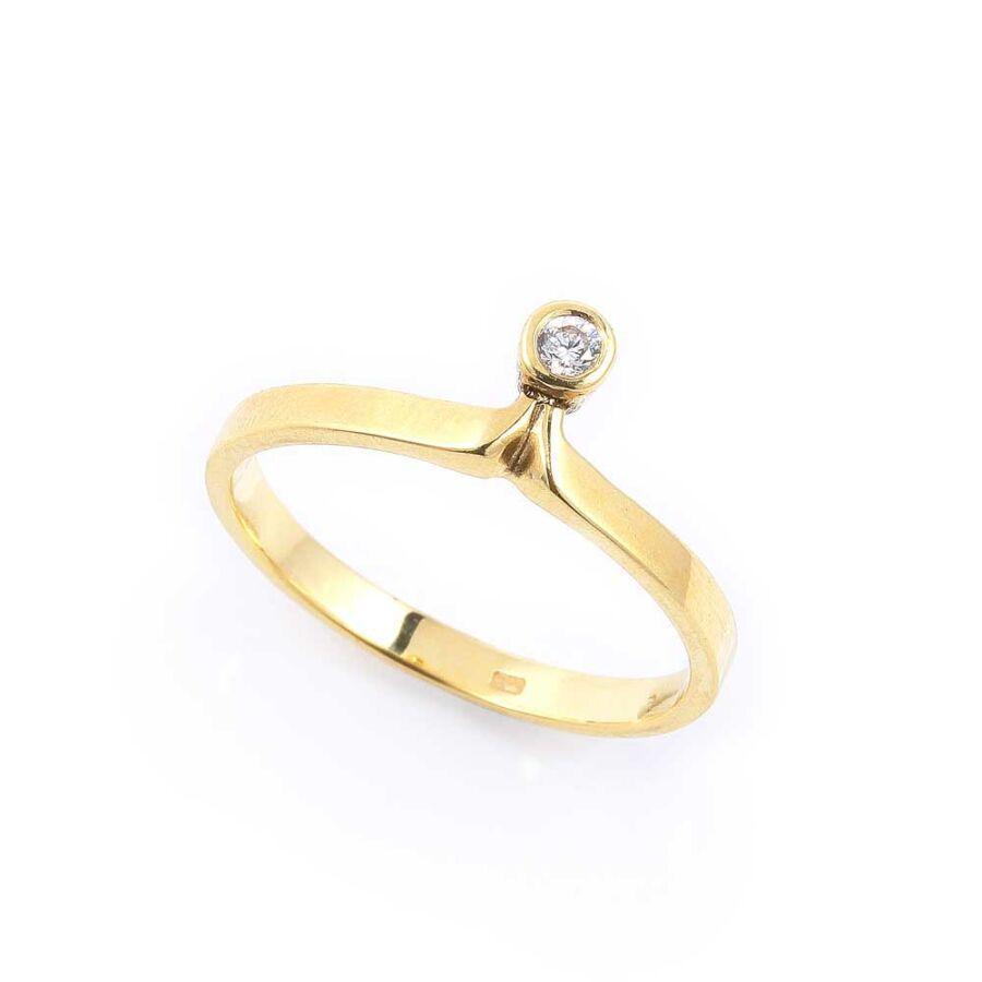 Sárga 14 karátos arany egyköves szoliter gyűrű (59-es méret)