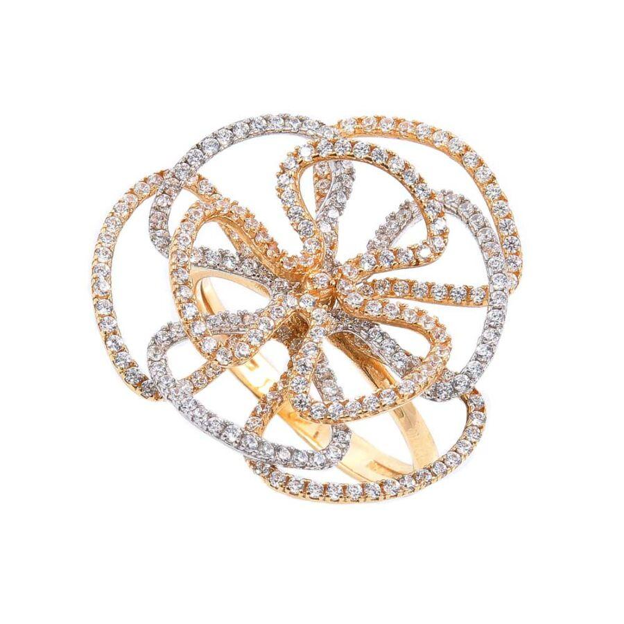 Poppy sárga-fehér 14 karátos arany sokköves női gyűrű (54-es méret)