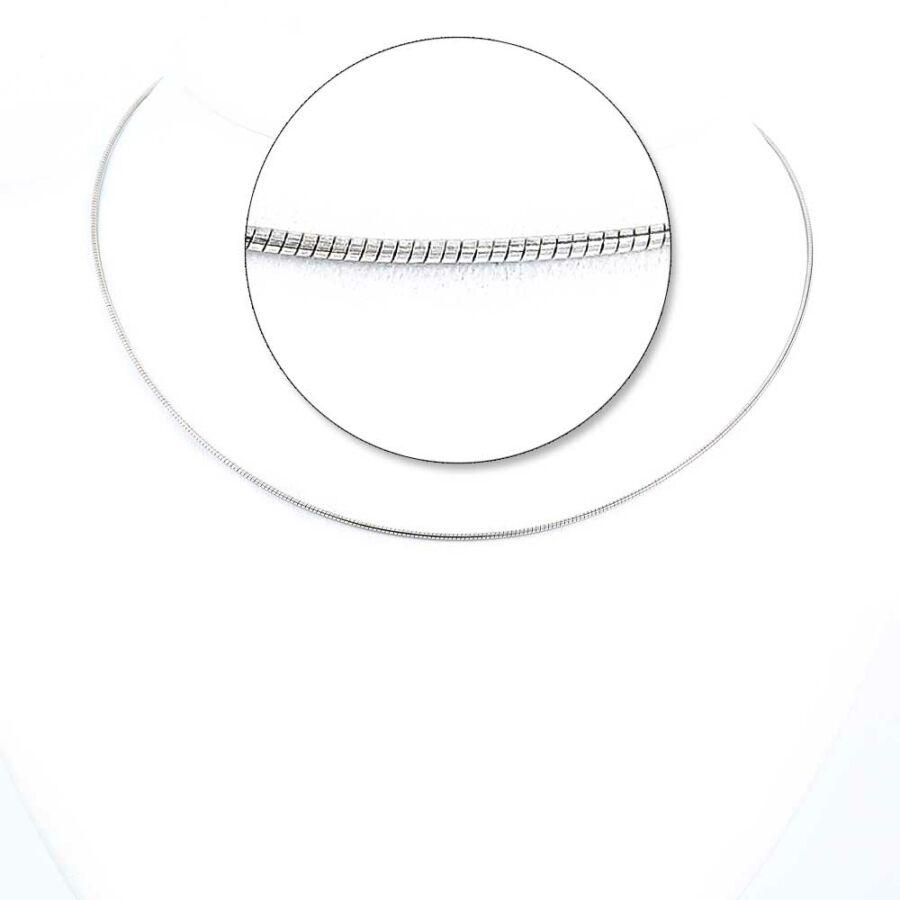 Ezüstözött ezüst Omega Round lánc