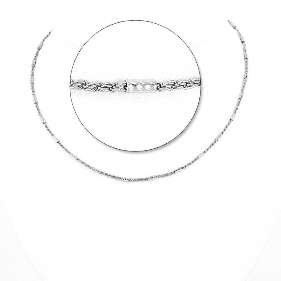 Ródiumozott ezüst hordós valesz lánc