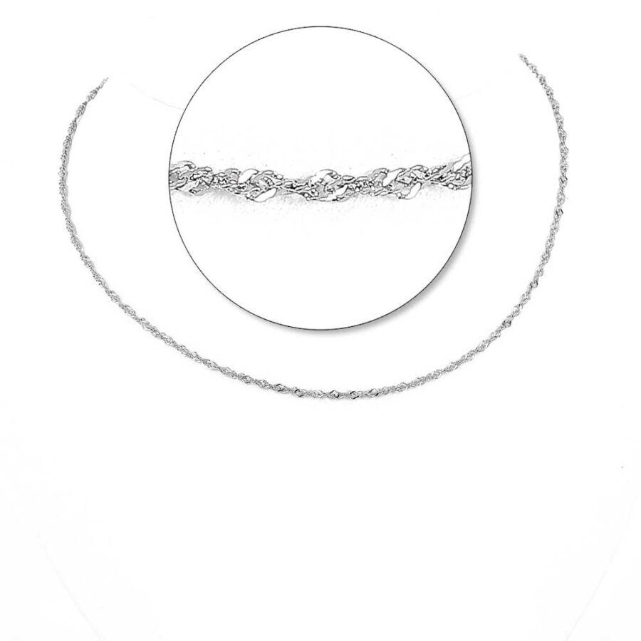 Ródiumozott ezüst könnyű szingapúri lánc