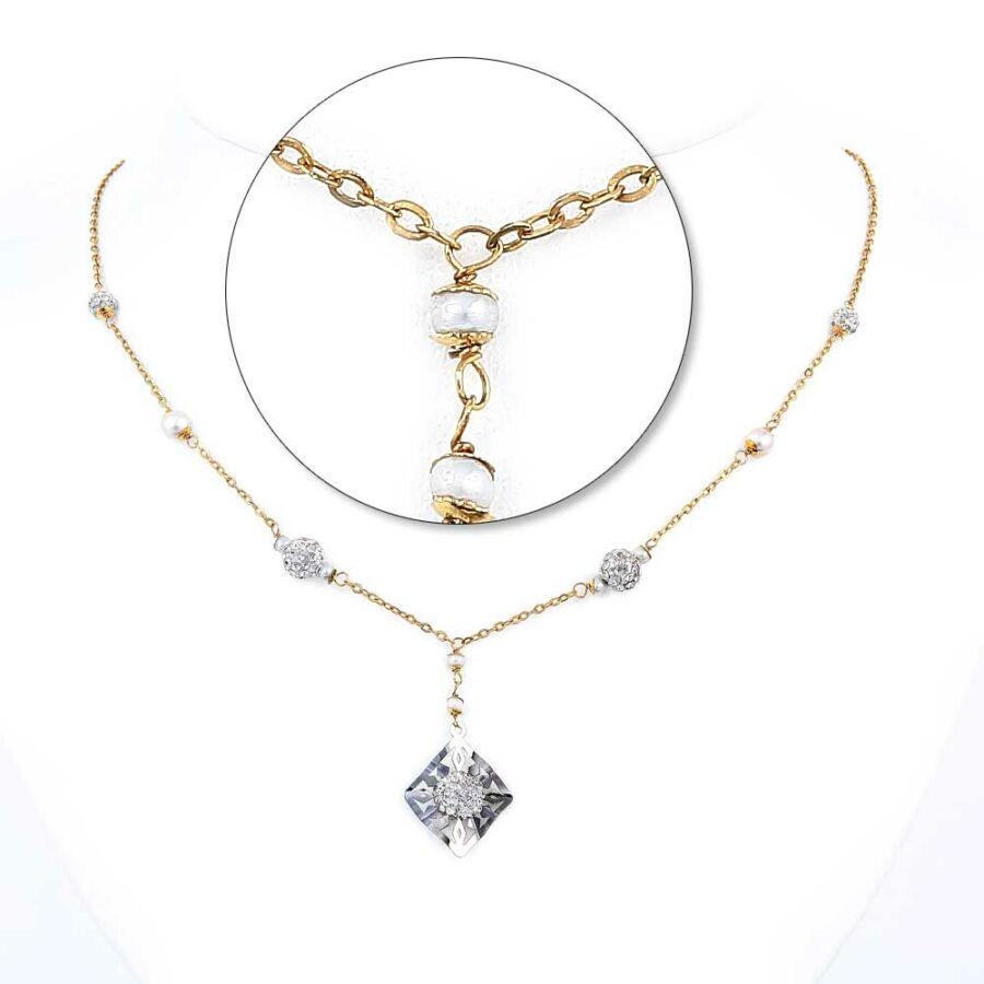 Áttört díszítésű, négyzetes, kristályos sárga-fehér 14 karátos arany nyaklánc, 45 cm