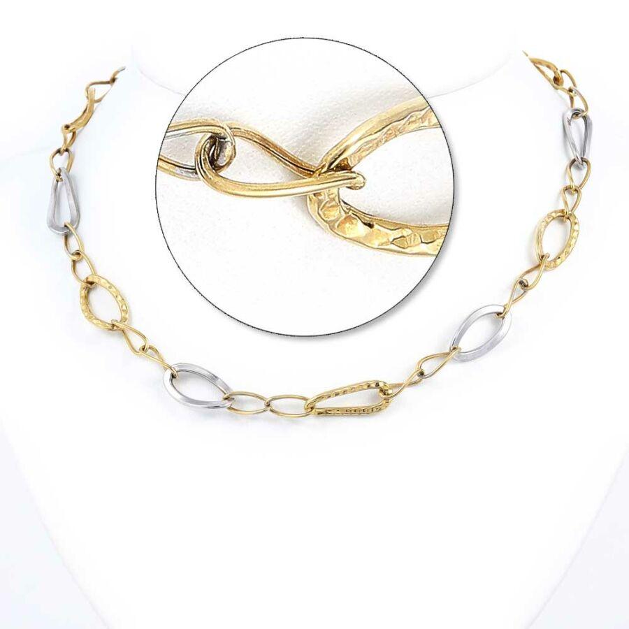 Sárga-fehér 14 karátos arany ovális szemes nyaklánc csavart szemekkel, 42 cm