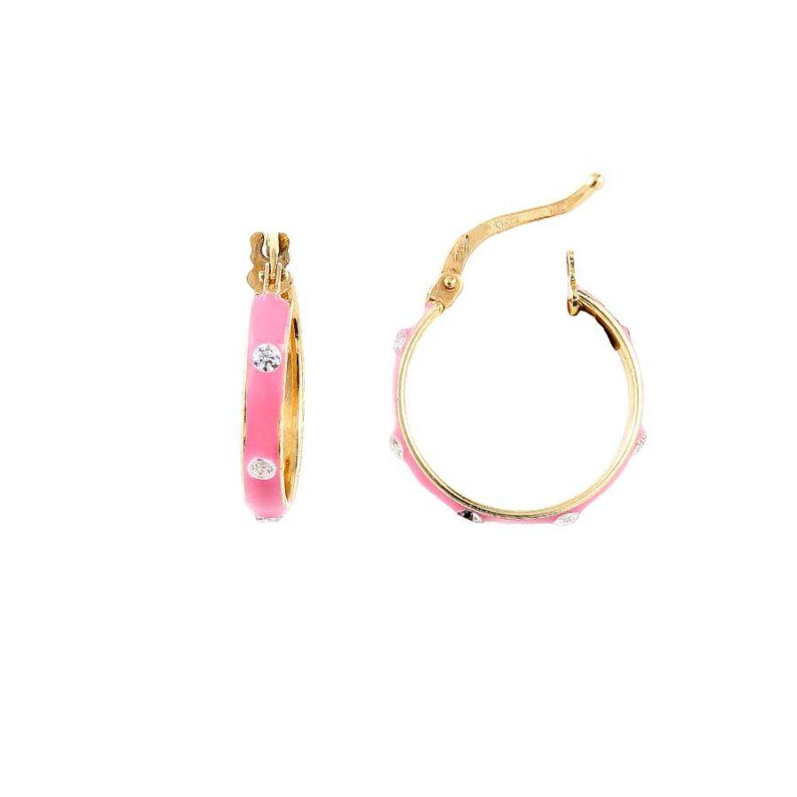 Rózsaszín zománcos sárga 14 karátos arany karika fülbevaló