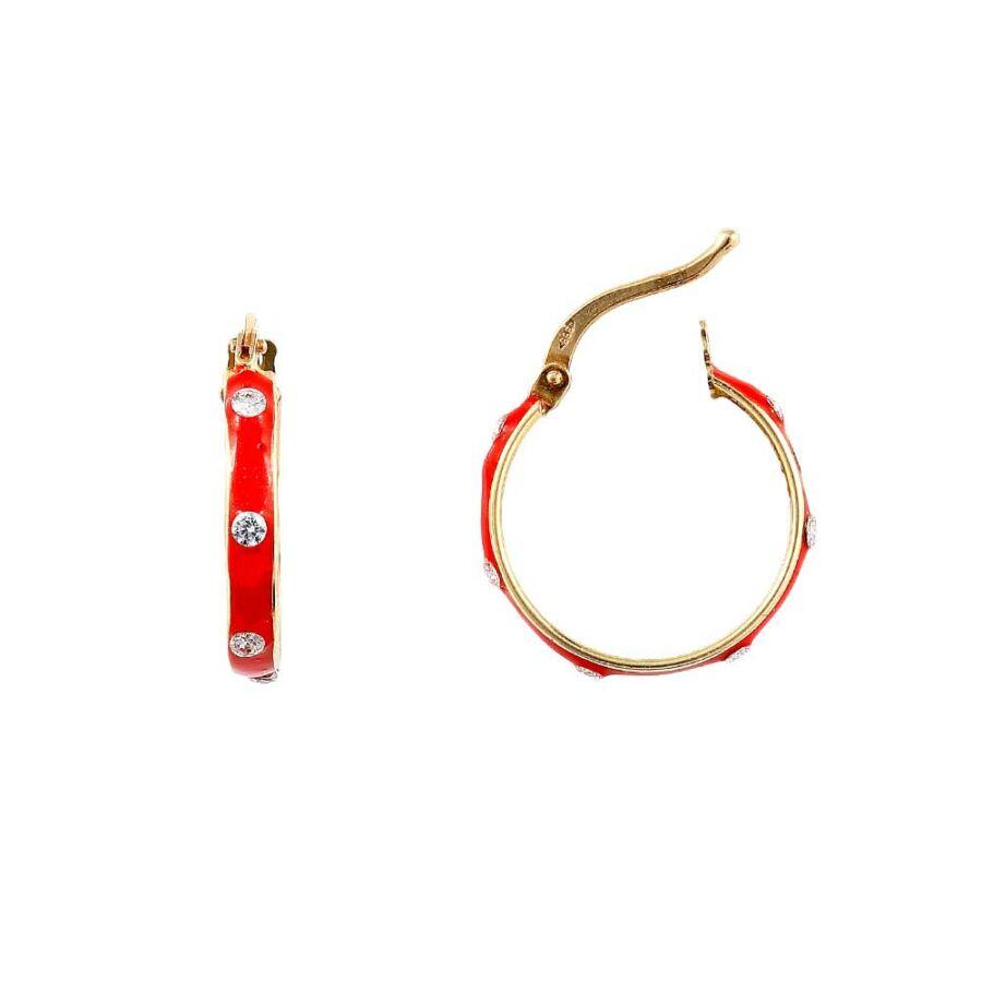 Piros zománcos sárga 14 karátos arany karika fülbevaló