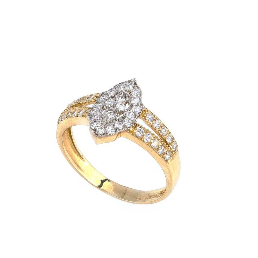 Navona sárga 14 karátos arany köves női gyűrű (55-ös méret)