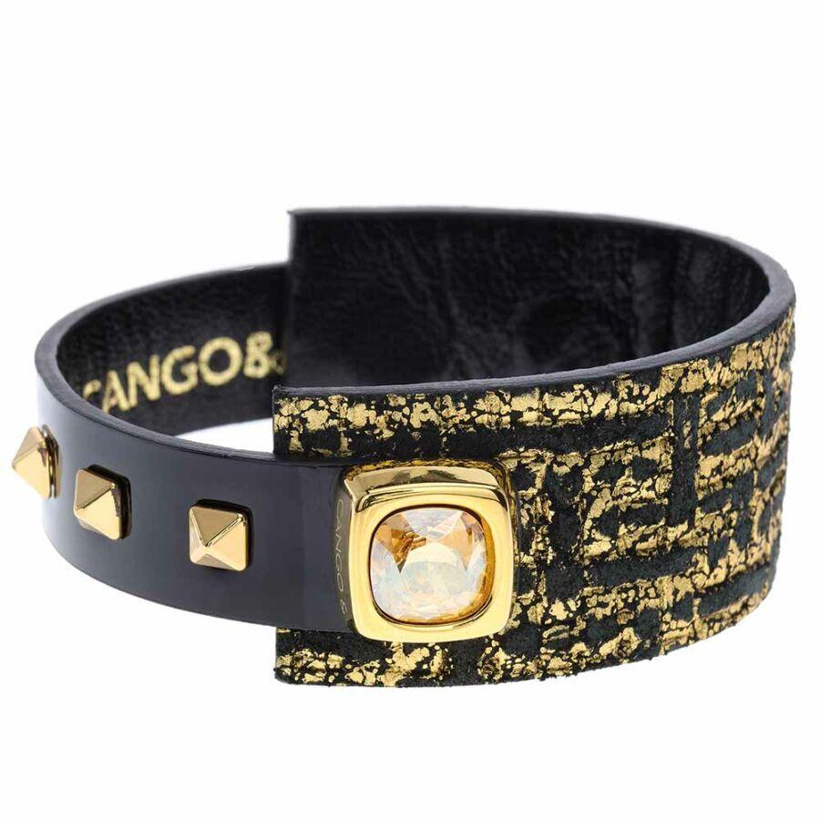 Cango & Rinaldi Cube aranyszín fémdíszes, arany kristály köves, fekete-arany színű karkötő