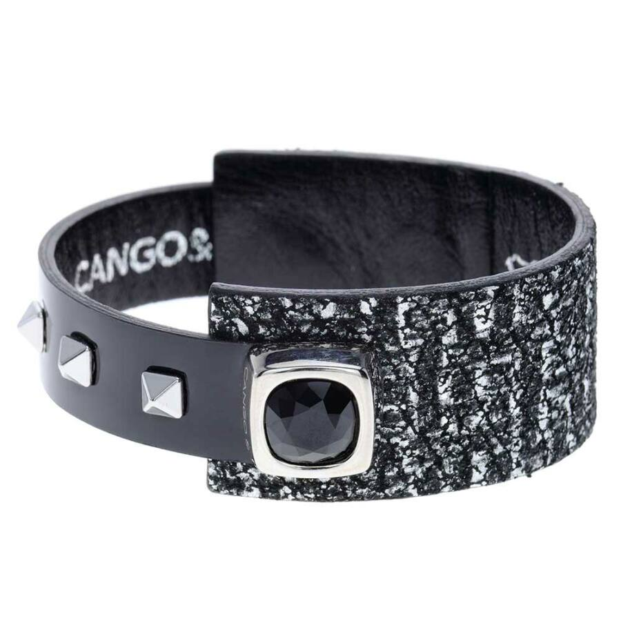 Cango & Rinaldi Magic Cube nikkel színű fémdíszes, JetBlack kristály köves, fekete-ezüst színű karkötő