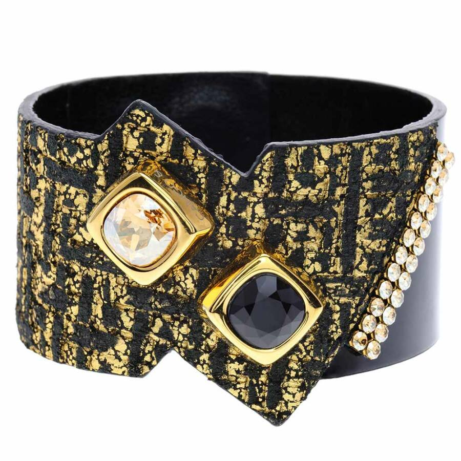 Cango & Rinaldi Magic Cube aranyszín fémdíszes, arany és JetBlack kristály köves, fekete-arany színű karkötő
