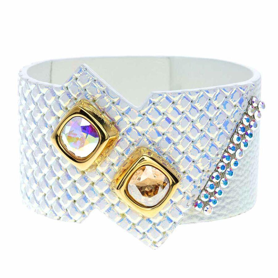 Cango & Rinaldi Magic Cube aranyszín fémdíszes, kristály és AB köves, irizáló színű karkötő