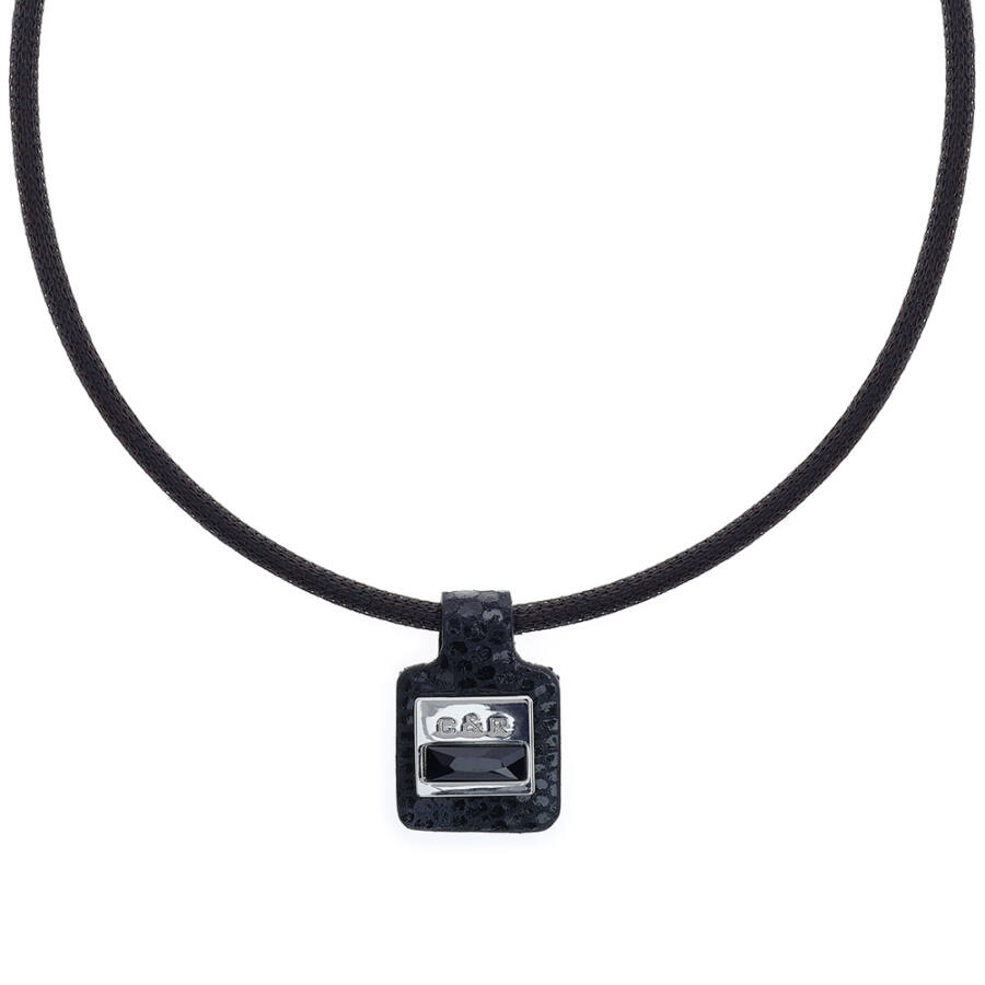Cango & Rinaldi Magic fekete nyaklánc fekete medállal, nikkel színű díszítéssel, JetBlack kristállyal