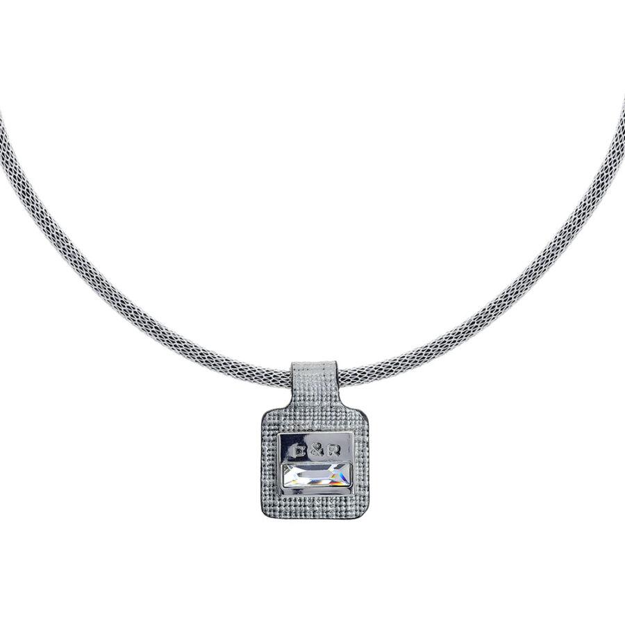 Cango & Rinaldi Magic ezüst színű nyaklánc ezüst színű bőr medállal, nikkel színű díszítéssel, fehér kristállyal