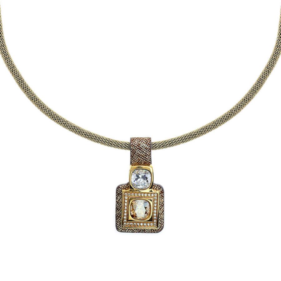 Cango & Rinaldi Magic arany színű nyaklánc arany színű medállal, arany színű fém díszítéssel, fehér és arany kristályokkal