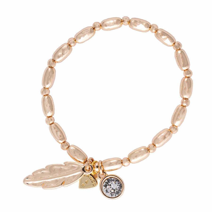 Cango & Rinaldi Peace & Love arany színű, kristály köves toll medálos karkötő