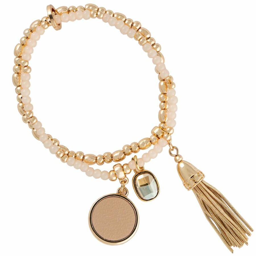 Cango & Rinaldi Peace & Love arany színű, kristály köves gyöngyös, bőrdíszes karkötő