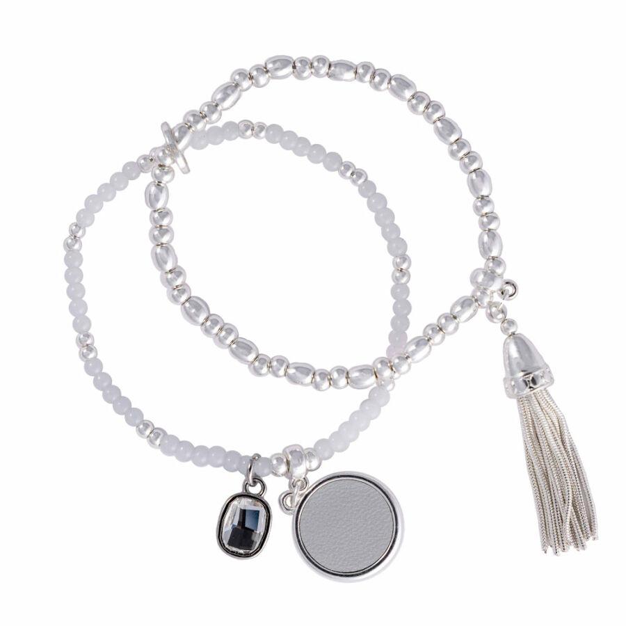Cango & Rinaldi Peace & Love ezüst színű, kristály köves gyöngyös, bőrdíszes karkötő