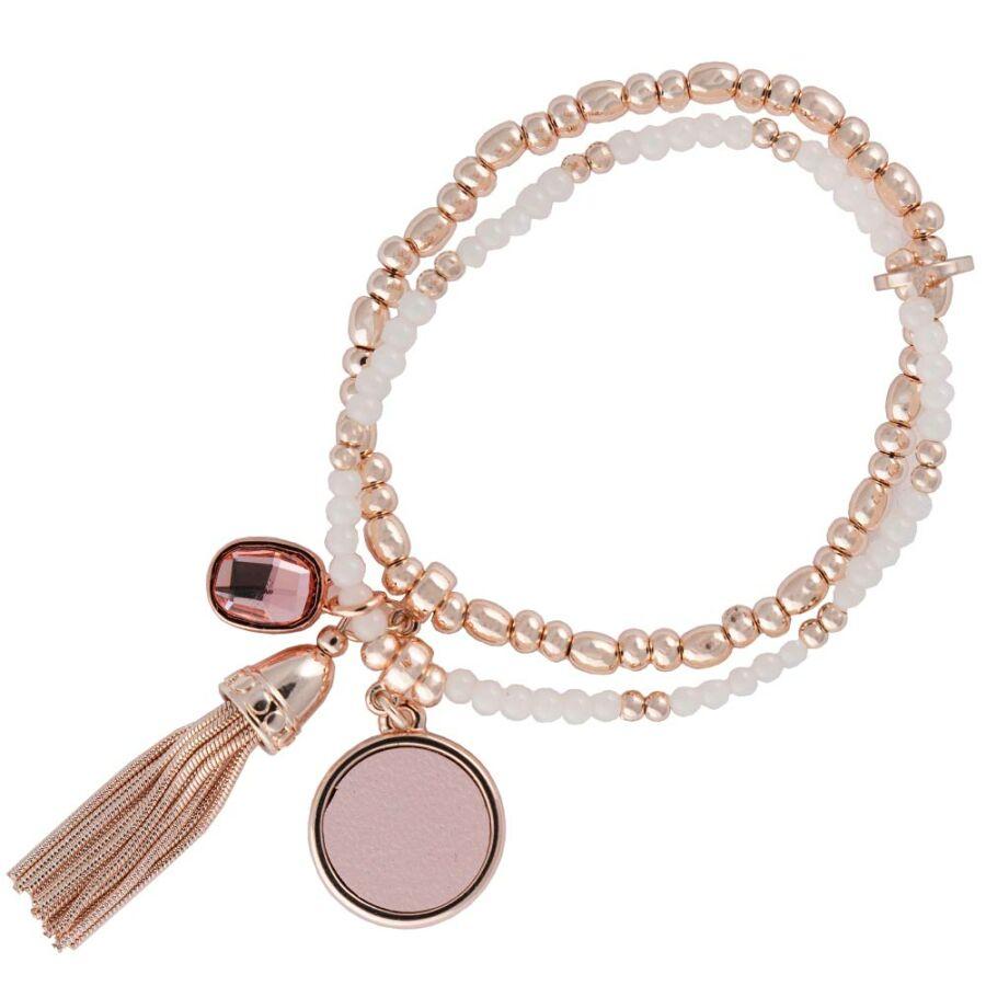 Cango & Rinaldi Peace & Love rozéarany színű, kristály köves gyöngyös, bőrdíszes karkötő