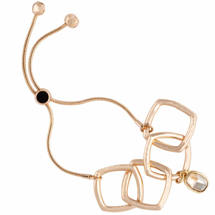 Cango & Rinaldi Peace & Love arany színű, kristály köves négyzet szemes karkötő