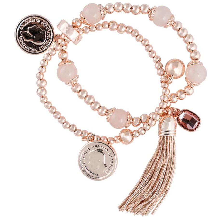 Cango & Rinaldi Peace & Love rozéarany színű, kristály köves bojtos, érmés karkötő