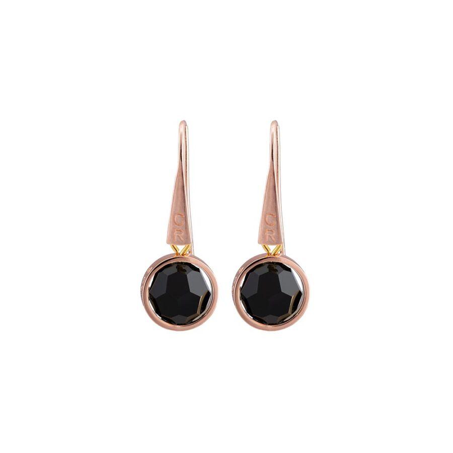 Cango & Rinaldi Planet rozéarany színű fém fülbevaló Jet Black kristállyal