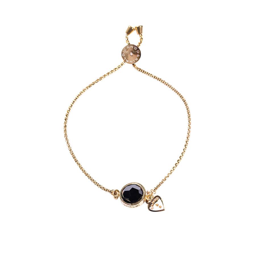 Cango & Rinaldi Planet arany színű fém karkötő fekete kristállyal
