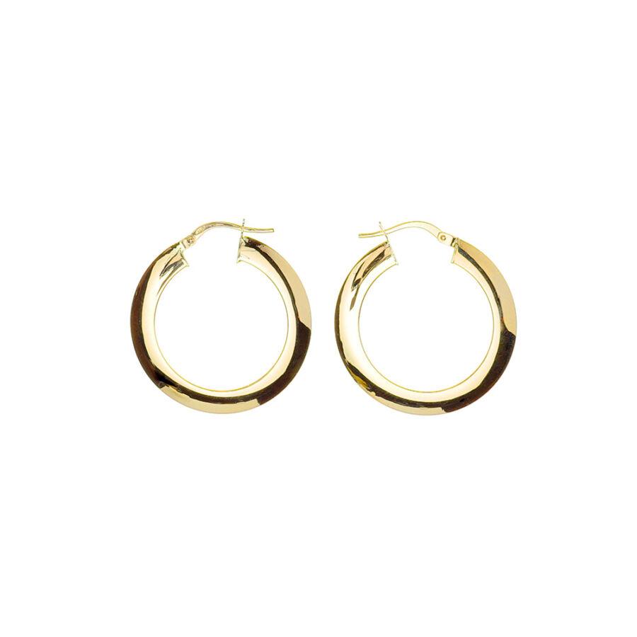 14 karátos sárga arany lapított karika fülbevaló 2,7 cm