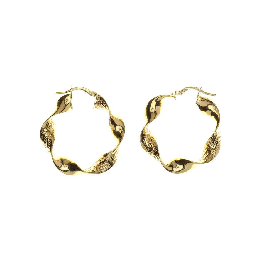 14 karátos sárga arany csavart karika fülbevaló görög mintás véséssel, 3 cm átmérjű, 3,02 g