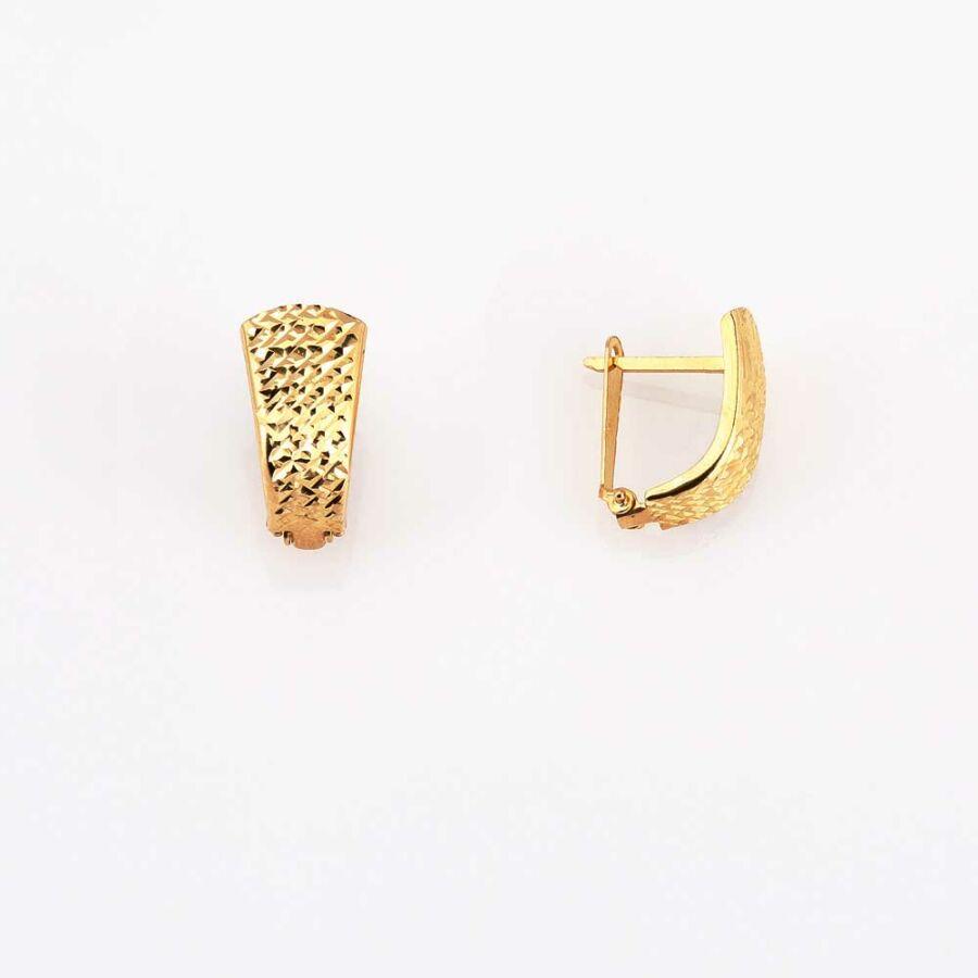 Trapéz alakú sárga 14 karátos arany fülbevaló