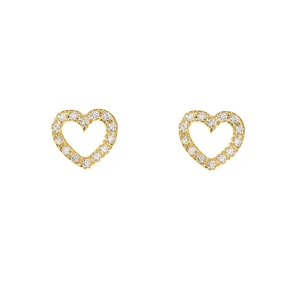 Körben sokköves sárga arany szív fülbevaló elölnézete