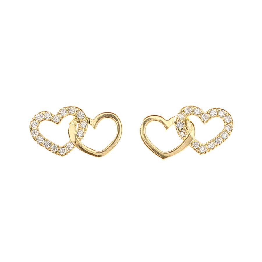Sokköves sárga arany dupla szív fülbevaló elölnézete