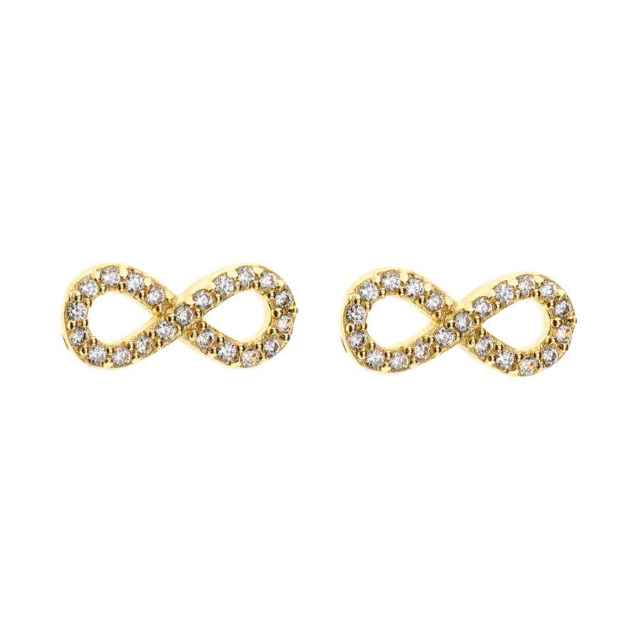 Sárga arany, köves Infinity (Végtelen) bedugós fülbevaló